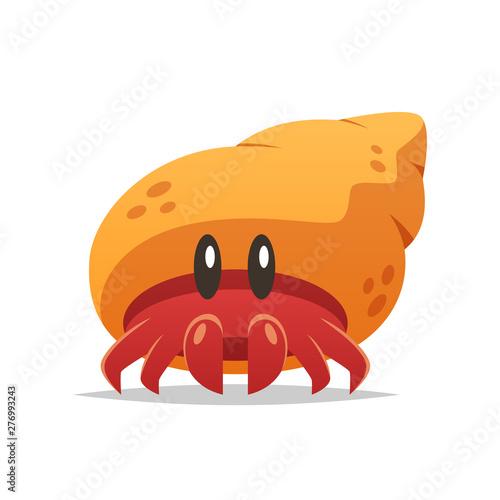 Tablou Canvas Cartoon hermit crab vector isolated illustration