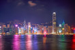 night cityscape view of hong kong victoria harbour