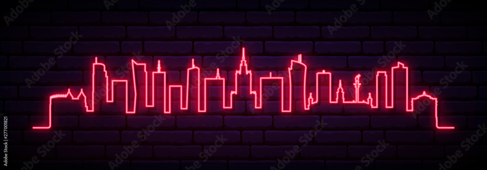Fototapety, obrazy: Red neon skyline of Warsaw city. Bright Warsaw Poland long banner. Vector illustration.