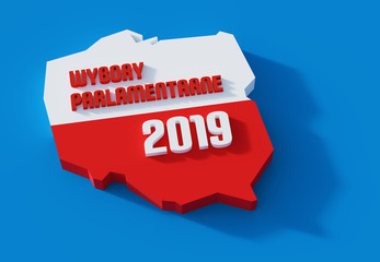 Polskie wybory parlamentarne. Polityka. 3D render. Ilustracja.