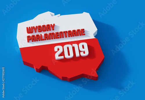 Obraz Polskie wybory parlamentarne. Polityka. 3D render. Ilustracja. - fototapety do salonu