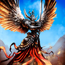 An Angel With Large Spread Wings In Armor And With A Sword, Soars In The Sky