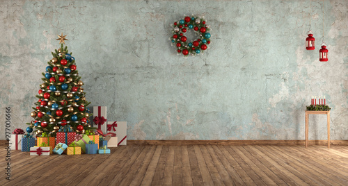 Fotografía  Blue old room with Christmas tree