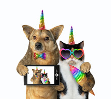 The Dog Unicorn In A Bow Tie With A Smartphone And The Cat Unicorn In Sunglasses With A Colored Ice Cream Cone Made Selfie Together. White Background. Isolated.