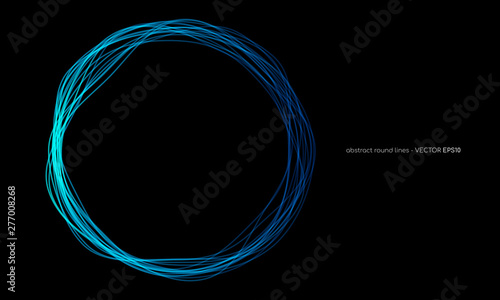 Obraz na plátně Vector abstract wavy circles lines round frame blue color isolated on black background