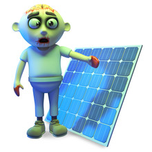 Green Zombie Monster Is Impressed With Solar Energy, 3d Illustration