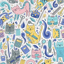 Cats And Pens Seamless Pattern. Funny School Background For Children