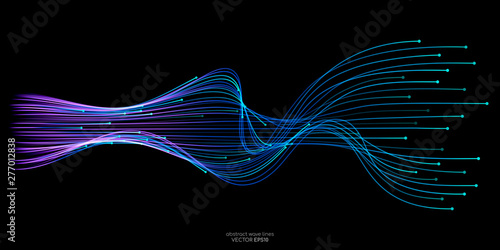 Fotografie, Tablou Vector wave lines flowing dynamic in blue green colors isolated on black backgro