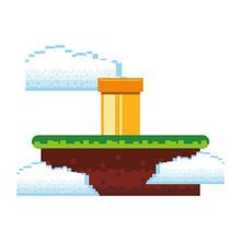 Retro Videogame Scenery With Terrain