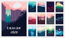 Calendar 2019.Vector Set With Landscape Illustration. Flat Design. Eps 10.