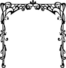 Arch, Crown, Frame, Rub, Poster, Black And White