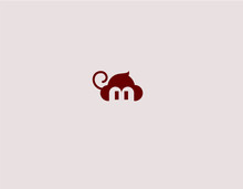 Creative Abstract Logo Sign Funny Monkey Minimalism