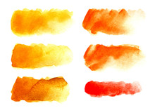 Set Of Six Abstract Headline Background. A Shapeless Oblong Spot Of Yellow, Red, Orange Color. Gradient From Dark To Light. Hand Drawn Watercolor Illustration On Texture Paper. Isolate On White