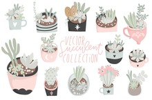 Cute Hand Drawn Set Of Different Cactus, Succulents. Pretty And Soft Pastel Colors. Vector Illustration