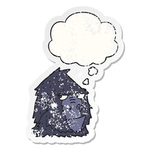 Cartoon Gorilla And Thought Bubble As A Distressed Worn Sticker