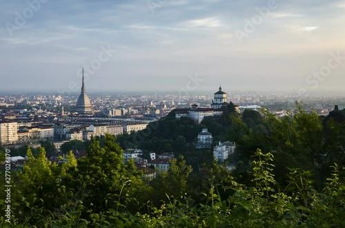 Obraz na plátně  Turin timelapse at sunrise with Mole Antonelliana and city skyline