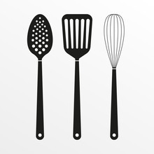 Kitchen Tools And Cooking Utensils Icon. Spatula, Whisk And Skimmer. Vector Illustration.