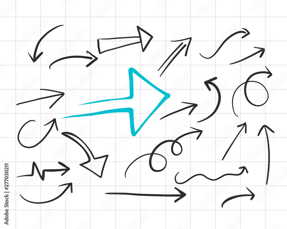 Fototapety, obrazy: set of hand drawn doodle arrows