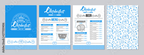 Foto Oktoberfest pub menu template set in a modern minimalist style with festival logo, barrel of beer, beer mugs, pretzels and tradition seamless pattern