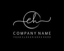 CH Initial Handwriting Logo With Circle Hand Drawn Template Vector