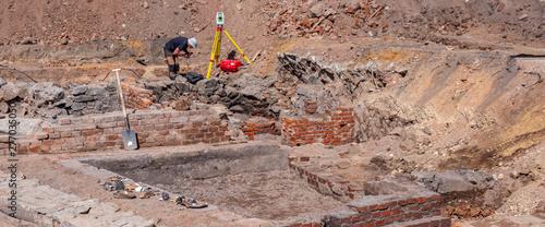 Panorama Historische Ausgrabungen Mauerruine Canvas Print