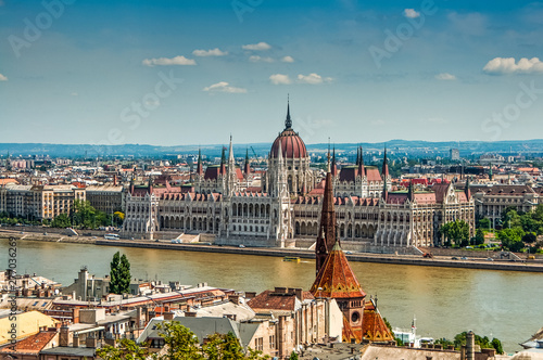 Stickers pour porte Fleur Building of parliament in Budapest by Donau river in Hungary
