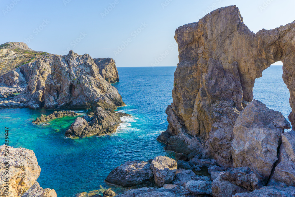 Fototapety, obrazy: Kamarela a wild rocky beach with beautiful rocks complex and turquoise sea waters in Antikythera island in Greece