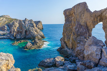 Kamarela A Wild Rocky Beach With Beautiful Rocks Complex And Turquoise Sea Waters In Antikythera Island In Greece