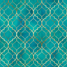 Watercolor Abstract Geometric Seamless Pattern. Arab Tiles. Kaleidoscope Effect. Watercolour Vintage Mosaic Texture