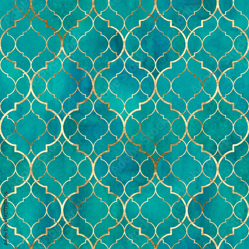 Fotografia  Watercolor abstract geometric seamless pattern