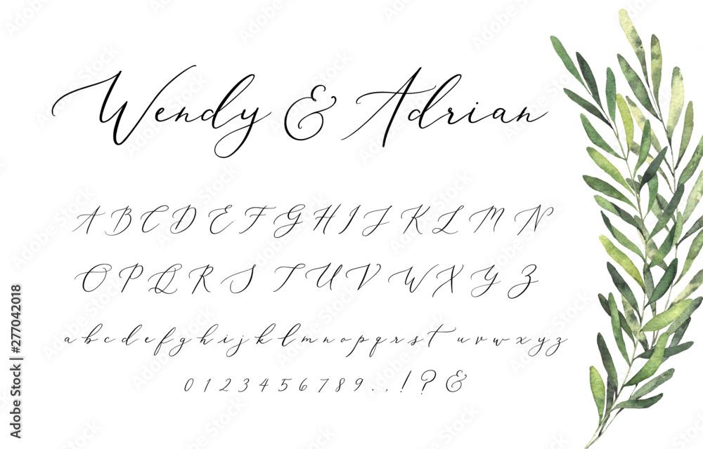 Fototapeta Wedding Invitation Script Font Alphabet