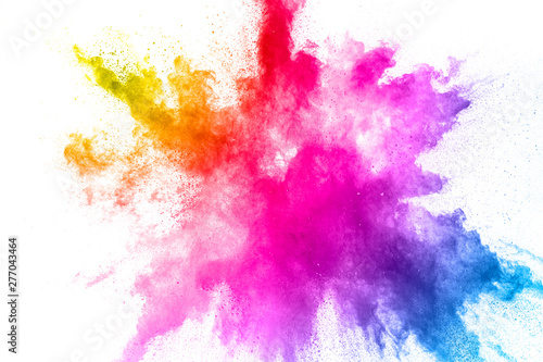 Colorful powder explosion on white background Fototapete