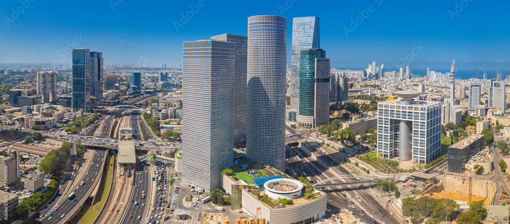 Fototapety, obrazy: Panorama Of Tel Aviv Skyline,  Tel Aviv Cityscape Large Panorama At Day, Israel