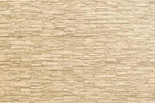 Rock Stone Brick Tile Wall Aged Texture Detailed Pattern Background In Yellow Cream Beige Color