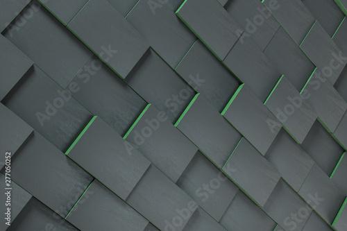 Fotografía  Dark undulating cubes, technological graphic background, 3d rendering
