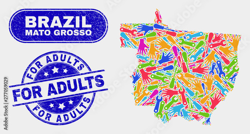 Fotografija  Component Mato Grosso State map and blue For Adults distress seal