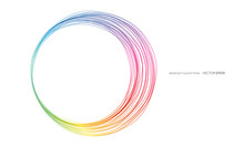 Vector Abstract Circles Lines Round Frame Rainbow Colorful Isolated On White Background With Empty Space For Text