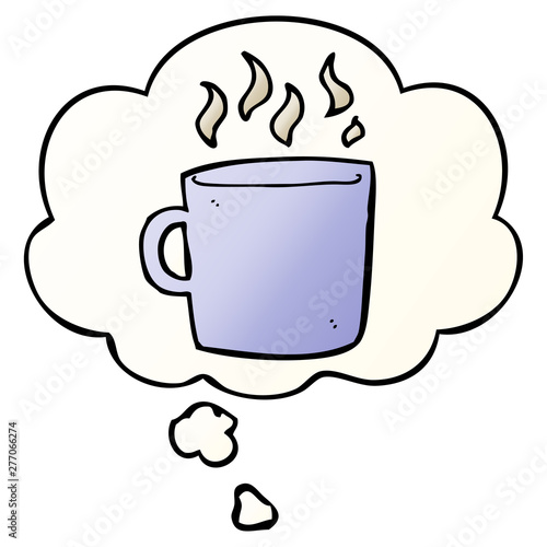 Hot Of Thought Bubble In Smooth Cartoon Gradient Cup Coffee And 80wknOP