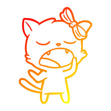 Warm Gradient Line Drawing Cartoon Yawning Cat