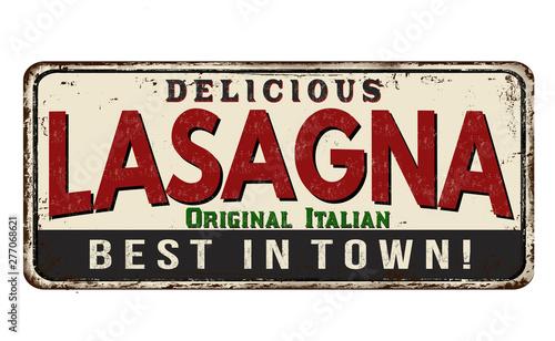 Lasagna vintage rusty metal sign Canvas Print