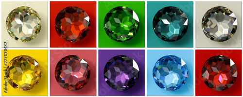 Photo Jewel tones, multi colored gemstones, jewel color swatches.