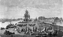 Rochefort Harbor Built On The Charente River Few Miles Away From The Atlantic Coast Of France, 18th Century Engraving