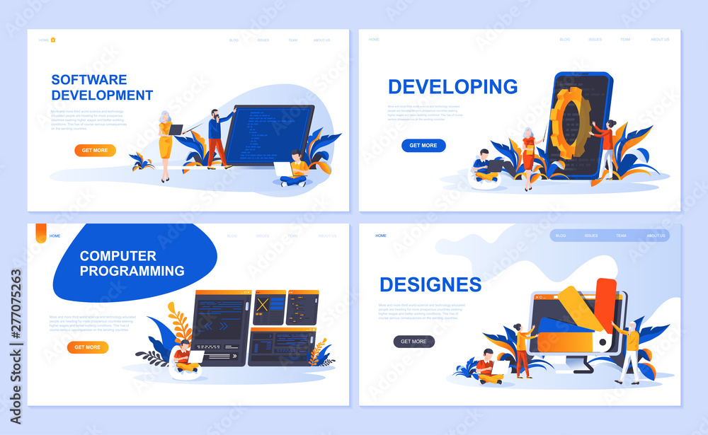 Fototapeta Set of landing page template for Software, Developing, Designer, Programming. Modern vector illustration flat concepts decorated people character for website and mobile website development.