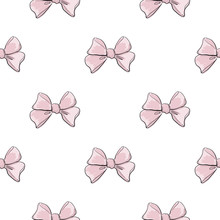 Cute Seamless Pattern With Beautiful Hand Drawn Pink Bows. Vector Doodle Illustration. Cloth Design, Wallpaper, Wrapping.
