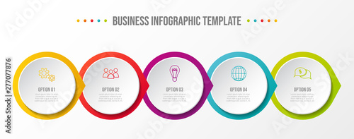 Photo  Colorful infographic with business icons. Vector