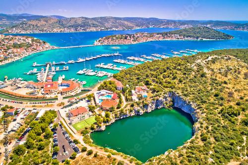 Rogoznica turquoise bay and Dragon Eye lake aerial view - 277079014