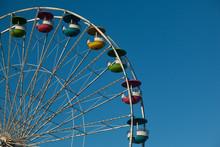 Ferris Wheel Ride At County Fair.