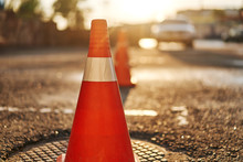 Bright Orange Traffic Cones St...