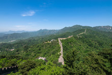 View Of The Ruins Of The Great Wall Of China At Mutianyu Section In Northeast Of Central Beijing, China.