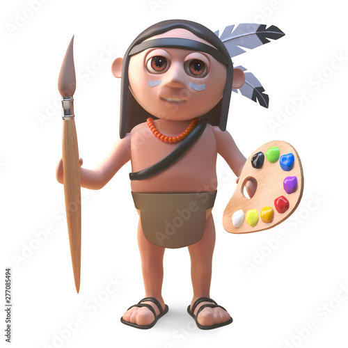 Artistic Native American Indian with paintbrush and palette, 3d illustration Canvas-taulu